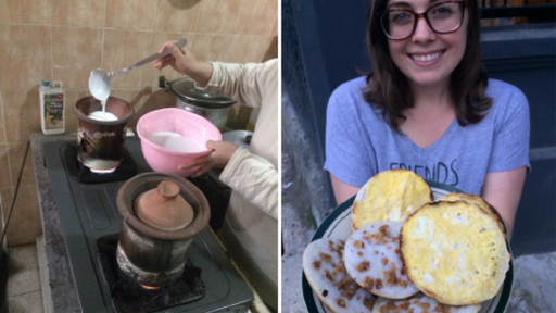 Learning to make Soerabi with my neighbor.