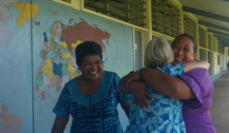 Reunited with a former student in Samoa