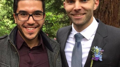 Reda Dihimine and PCV Samir on Samir's wedding day.
