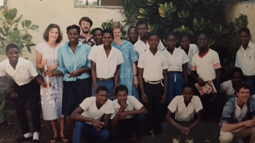 Patty with students at the Peace Corps training facility.