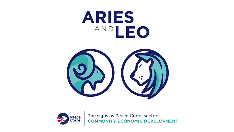 "Aries and Leo symbols with the text ""community economic development"""