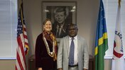 Peace Corps Director Jody Olsen poses with Honorable Harry Kuma, minister of Finance and Treasure of Solomon Islands