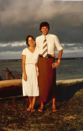 Peace Corps Director Carrie Hessler-Radelet with her husband, Steve Radelet, during their Volunteer service in Samoa.