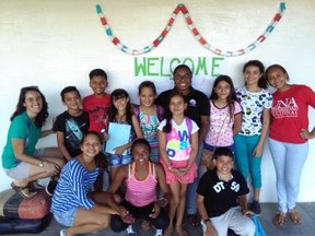 JumpStart Students at Welcome sign.jpg