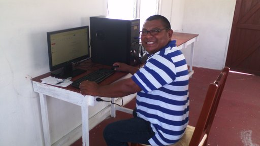 The Deputy Toshau (Vice Leader) of the community using the internet for the first time at the Computer Hub.