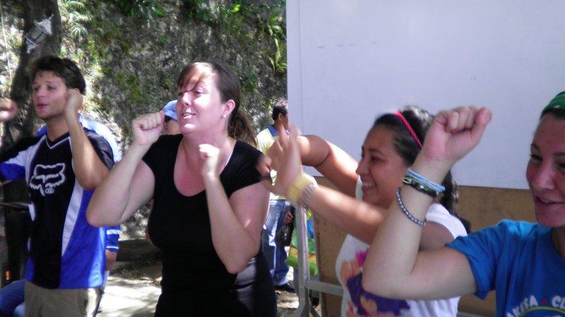 Team building at environmental camp.