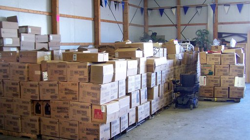 The growing number of pallets of books, crafts, and items for the disabled, mid-2016.
