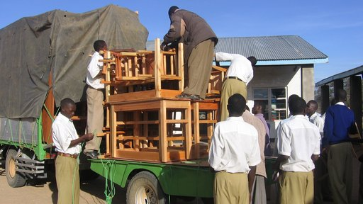 Unloading the truck of library supplies