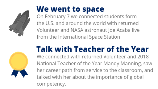 "Image highlights two events from 2018: ""We went to space"" (students participated in a downlink with astronauts on the International Space Station) and ""Talk with Teacher of the Year"" (Mandy Manning shared her service-to-classroom story)"