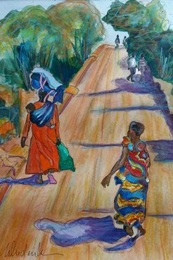 Watercolor painting of colorfully dressed women walking down a dirt road with babies on their backs