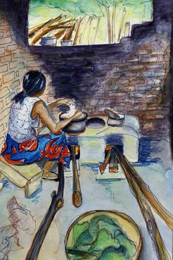 Watercolor painting of a woman cooking nsima in her smoky outdoor kitchen