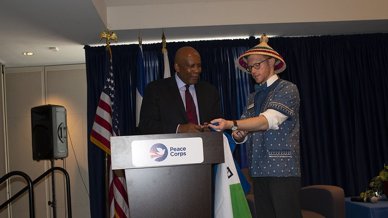 An American male meets with King Letsie III of Lesotho