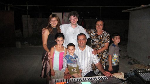 Joseph Andriano with his host family in Armenia.