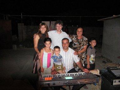 Joseph Andriano with his host family in Armenia.
