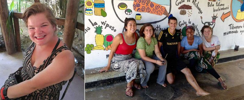 Two Photos: First photo is Cameron sitting in a chair and smiling. Second photo is Cameron sitting with other PCVs in front of a colorful mural.