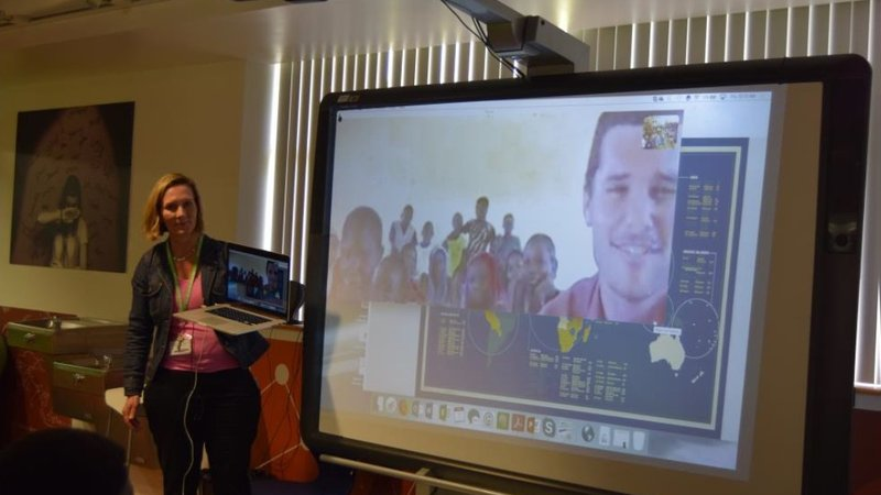 Ian Thompson, a current Volunteer and Anderson's son, joined the presentation virtually with about 15 of his students from his Senegalese village of 5,000 people.
