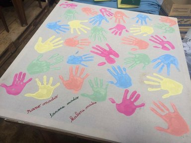 A handprint banner made at one of the elementary schools