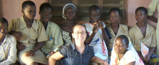 Kate Puzey with a group of students