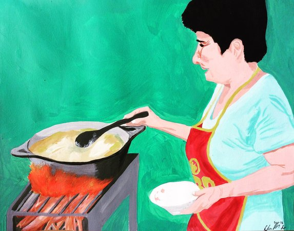 Mita, my host grandma, making beef soup on a Sunday.