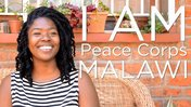 "Response Volunteer Nyassa smiles while ""I Am Peace Corps Malawi"" is written in white next to her."
