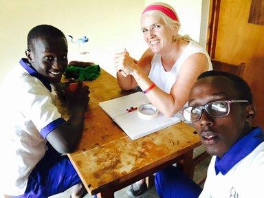 Marie Fitzsimmons in her office in Rwanda.