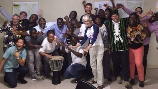 Send off celebration where Peace Corps staff played drums and thanked volunteers for their service.