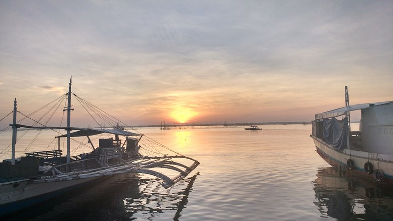 Sunrise from the end of the pier, Philippines