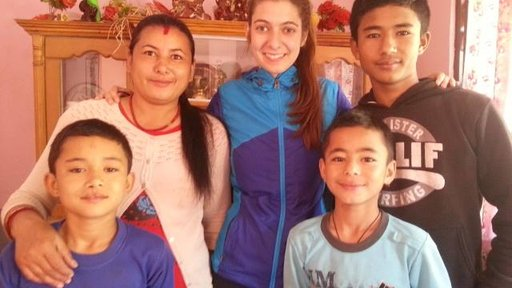 Priya and host family