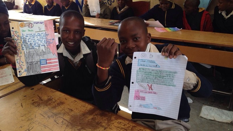 Colin Hanson's class in Wisconsin sent materials and instructions to teach kids in Lesotho about their favorite craft.