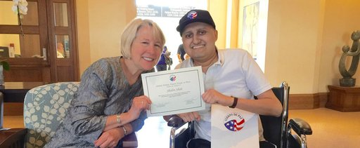 Shalin Shah with former Peace Corps Director Carrie Hessler-Radelet