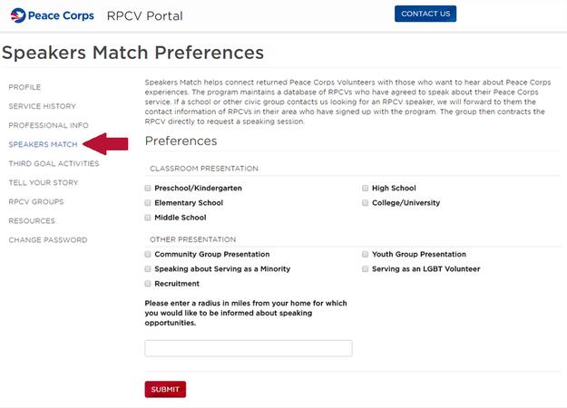 RPCV Portal Speakers Match