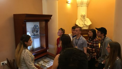 Joseph Andriano's students at a museum in Armenia