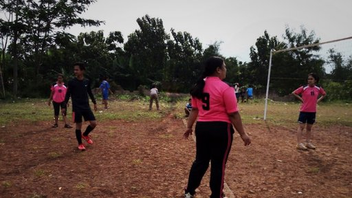 Playing volleyball in Indonesia
