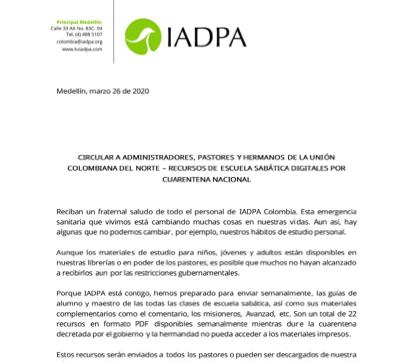 Circular 002 IADPA - Materiales de Escuela Sabática del segundo trimestre del 2020