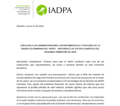 Circular IADPA - Materiales de Escuela Sabática del segundo trimestre del 2020