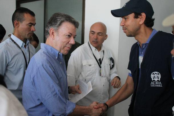 Presidente Santos agradece a ADRA Colombia por su labor en la tragedia de Mocoa