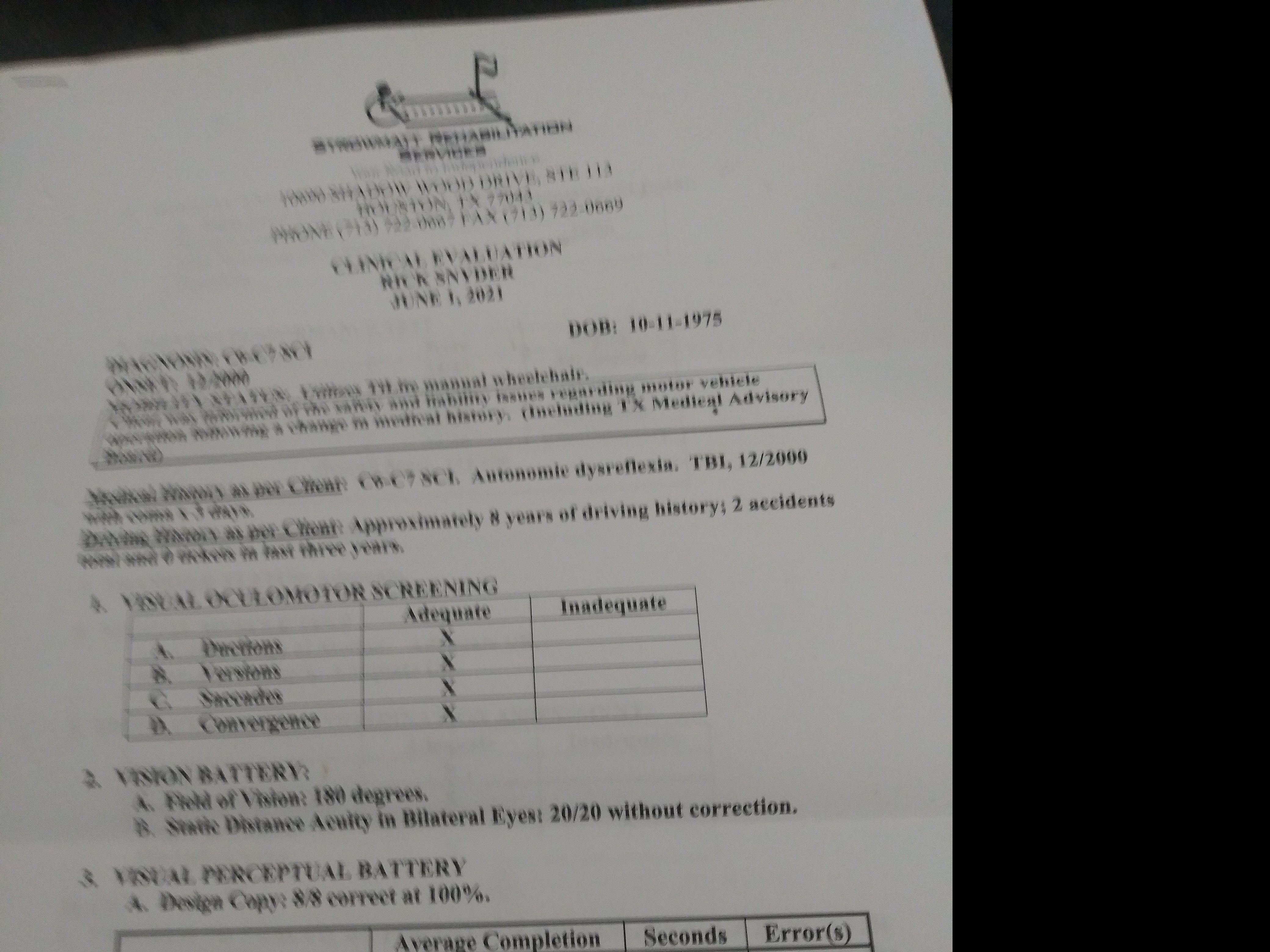 DRIVING TEST RESULTS