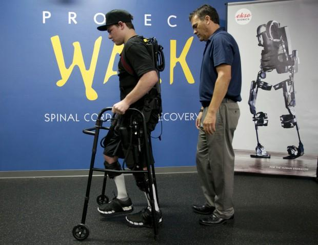 Joey in the Ekso Bionic Suit at Project Walk