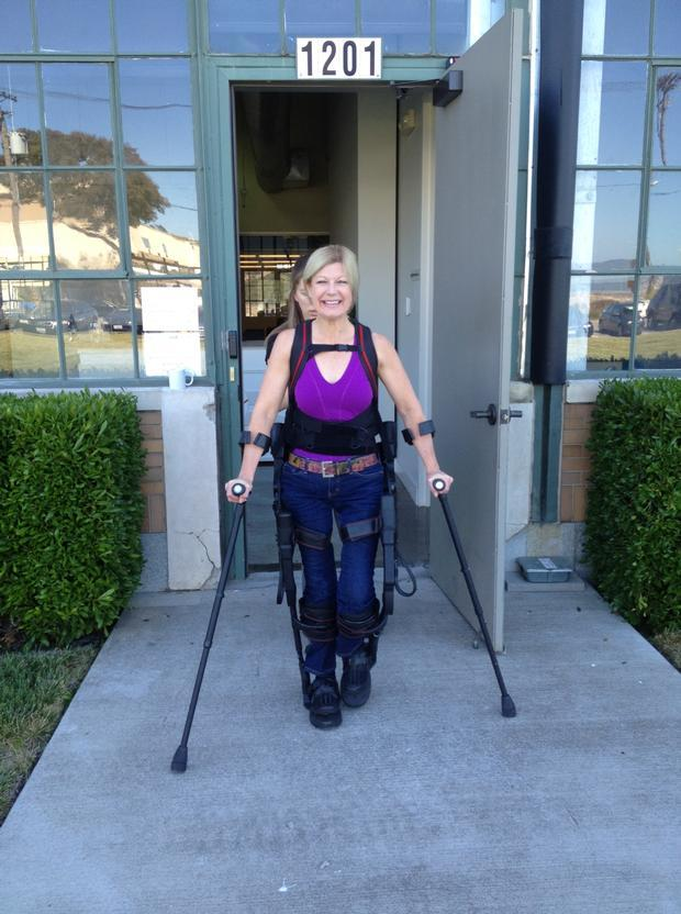 Amanda Walks in Ekso, a bionic exoskeleton