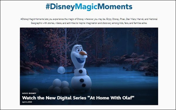 Disney Launches Free Website For Family Entertainment During Shelter At Home
