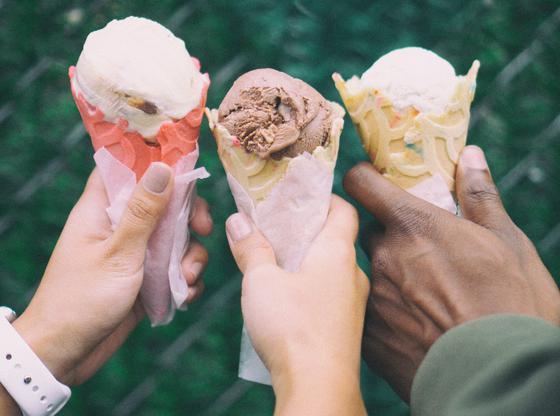 Trois cornets de crème glacée