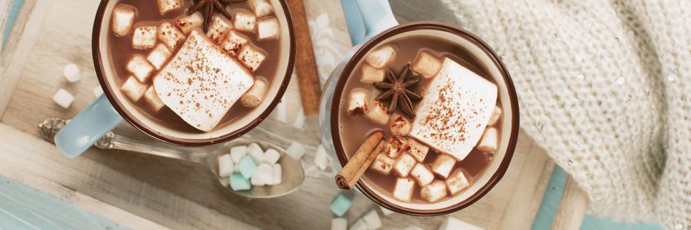 Deux tasses de lait au chocolat