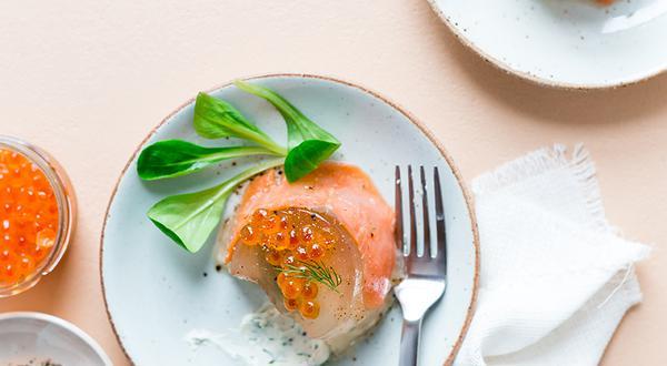 Aspic au saumon fumé et mascarpone