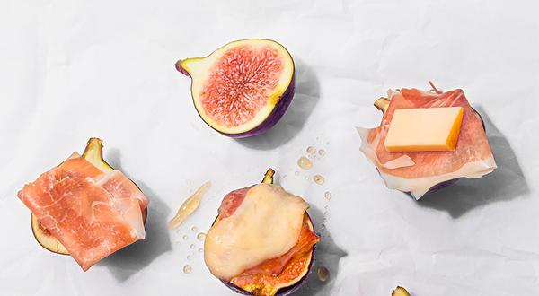 Bouchées de prosciutto et fromage sur figues
