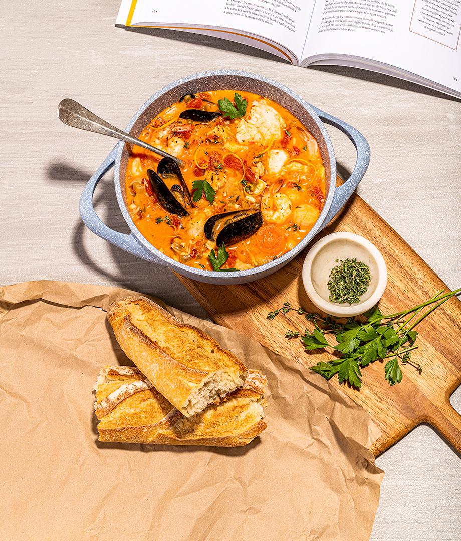 Bouillabaisse au poisson et fruits de mer