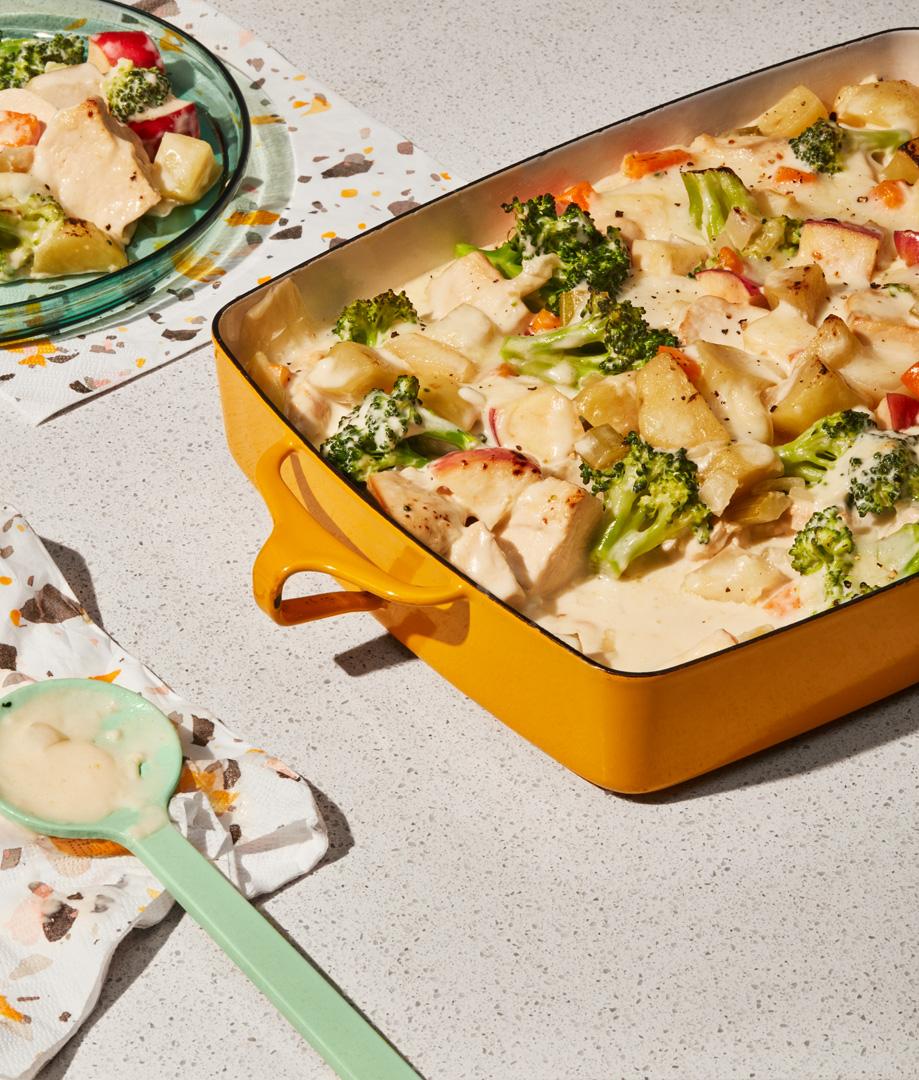 Casserole de poulet aux pommes et au fromage