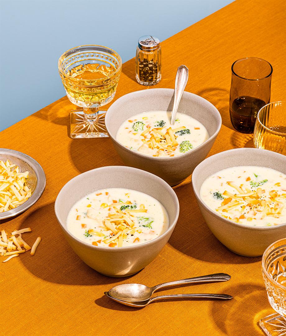 Chaudrée de poulet, fromage Mamirolle et légumes