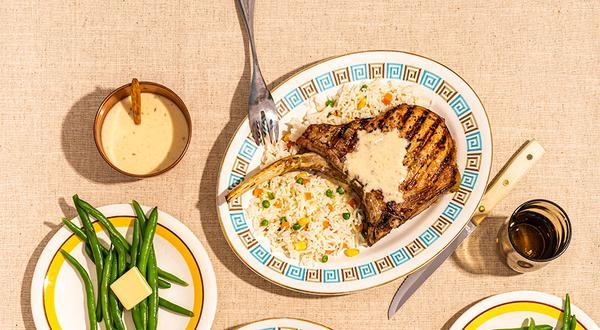 Côtelettes de porc, sauce au cumin et ananas