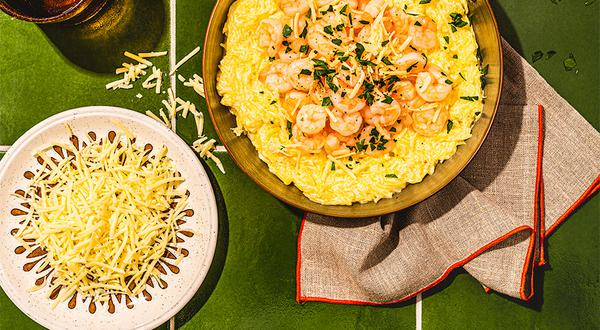 Courge spaghetti alfredo aux crevettes