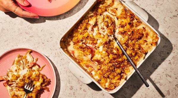 Croustade aux pommes de terre rattes, au fromage, au jambon blanc et aux endives